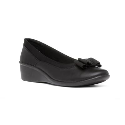 Deacon Womens Black Wedge Shoe with Bow