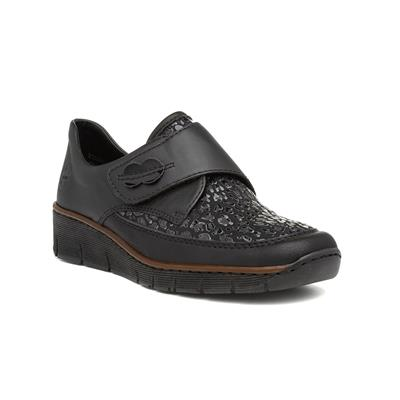 Womens Black Easy Fasten Wedge Shoe