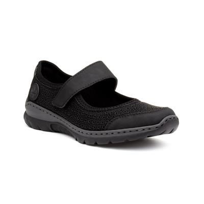 Womens Black Touch Fasten Casual Shoe