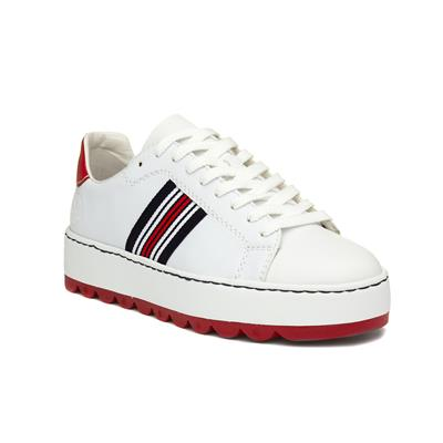 Womens White Stripe Lace Up Trainer