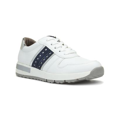 Womens White Casual Lace Up Trainer