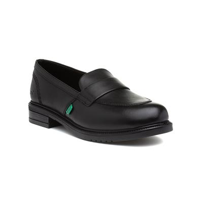 Lach Womens Black Leather Slip On Loafer