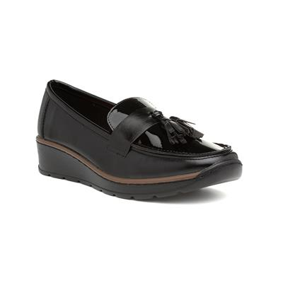 Raven Womens Black Wedge Loafer with Tassels