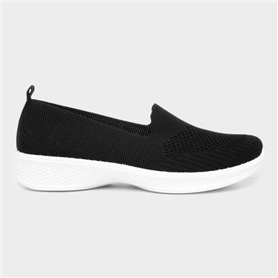 Womens Black Slip On Casual Shoe in Black