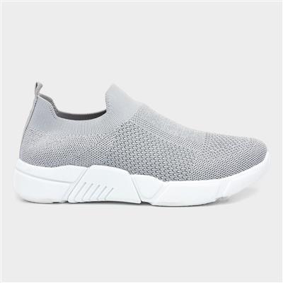 Womens Grey Slip On Casual Sport Shoe