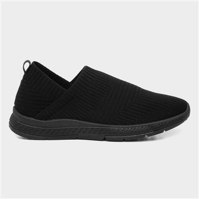 Womens Black Slip On Casual Sporty Shoe