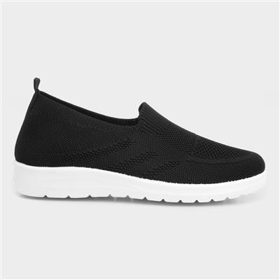 Womens Knitted Casual Shoe in Black