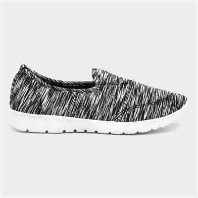 Womens Grey & Black Slip On Shoe