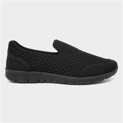 Womens Slip On Black Flat Shoe