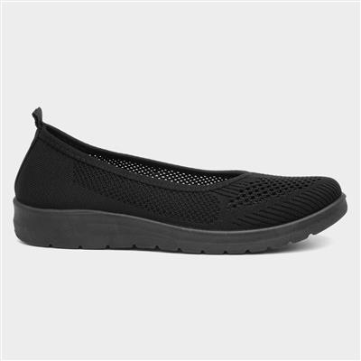 Womens Black Slip On Ballerina