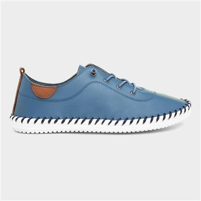 St Ives Womens Leather Shoe in Blue