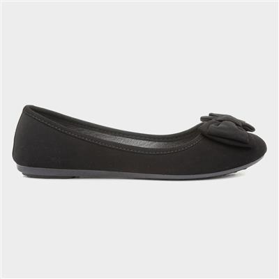 Womens Black Bow Ballerina Shoes