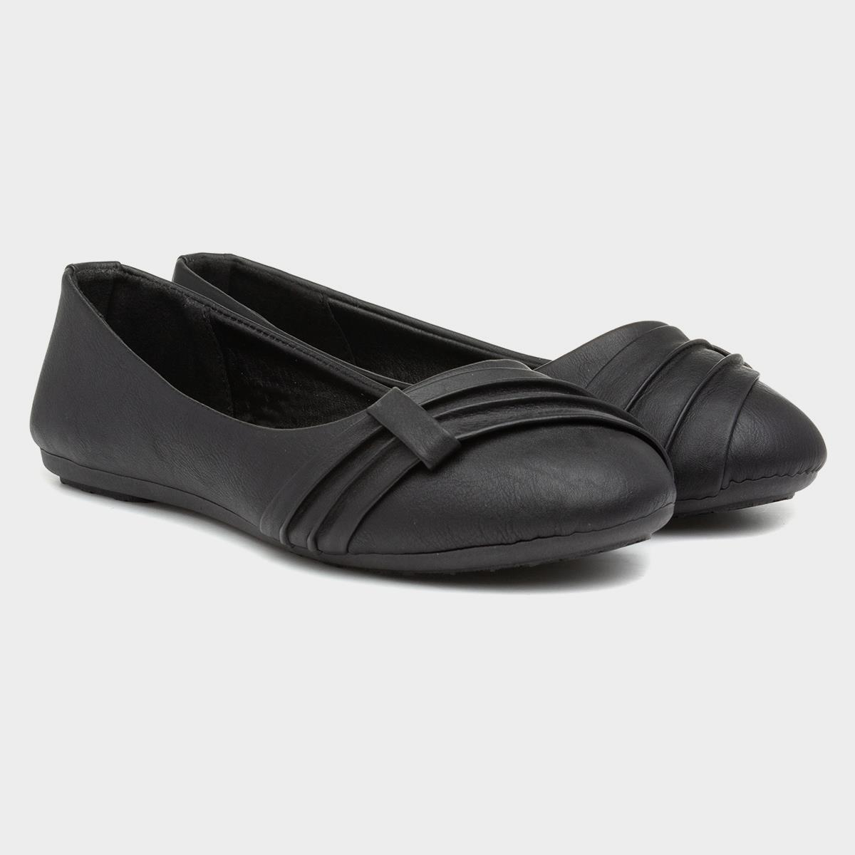 Womens Ballerina Shoe Front Pleated Shoe in Black by Lilley
