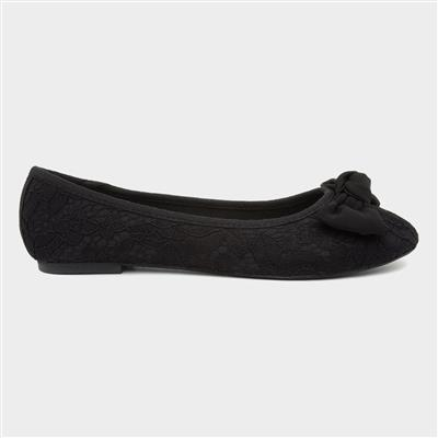 Womens Black Lacey Large Bow Ballerina