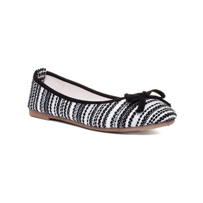 Womens Black & White Stripe Ballerina