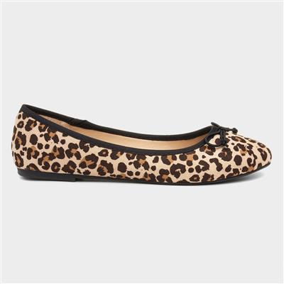 Womens Beige Leopard Print Ballerina