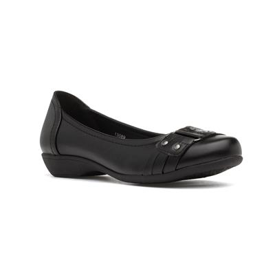 Womens Slip On Buckle Ballerina in Black