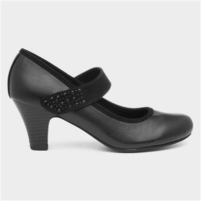 Womens Black Diamante Court Shoe