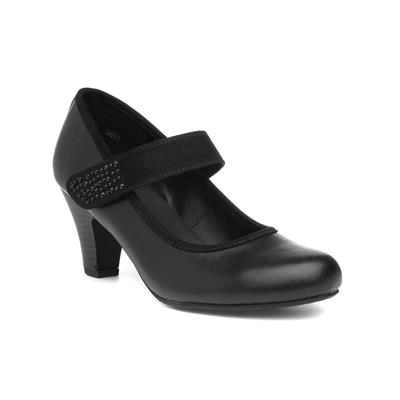 Womens Black Diamante Court Shoe