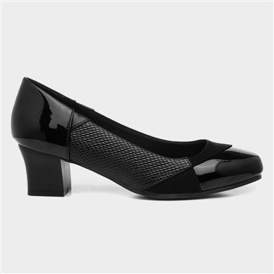 Womens Black Block Heel Court Shoe