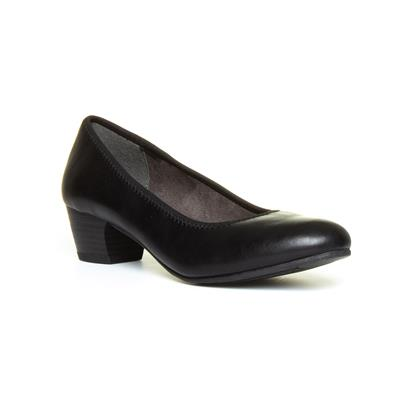 Womens Block Heel Black Court Shoe