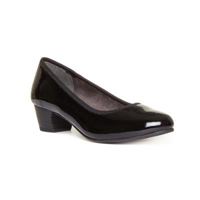 Womens Black Block Heel Court Shoe