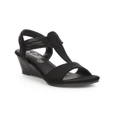 Womens Wedge Studded Sandal in Black