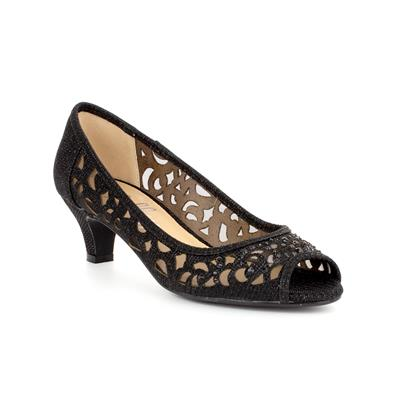 Womens Black Lace Mesh Court Shoe