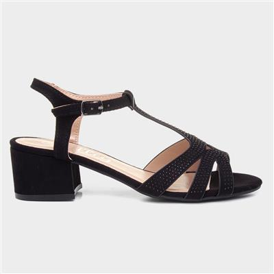 Womens Black Diamante Heeled Sandals