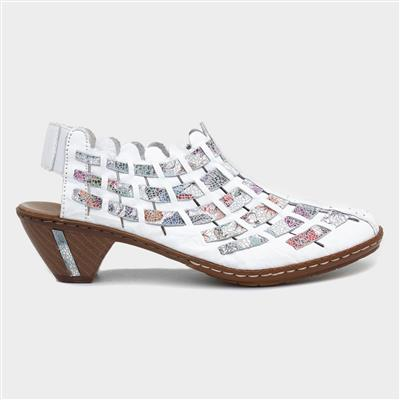 Sina Womens Leather Sling Back in White