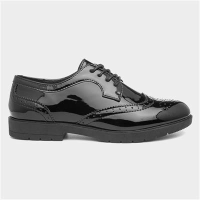 Womens Black Glossy Lace Up Brogue Shoe