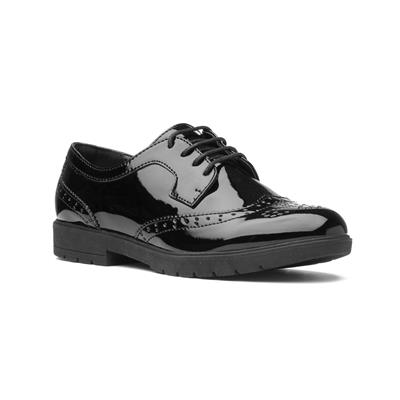 Womens Black Glossy Lace Up Brogue Shoe