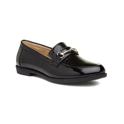 Womens Black Patent Croc Loafer