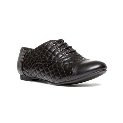 Womens Black Lace Up Textured Brogue Shoe
