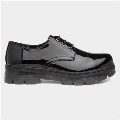 Womens Black Patent Lace Up Shoe