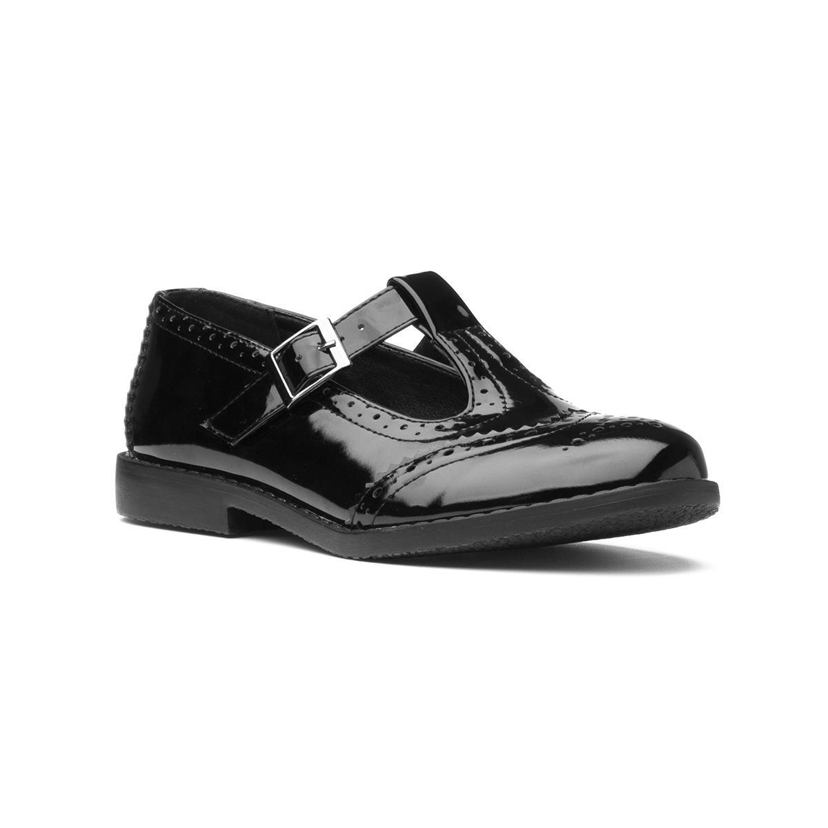 Lilley Womens Patent Black T-Bar Shoe