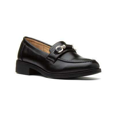 Womens Black Slip On Heeled Loafer
