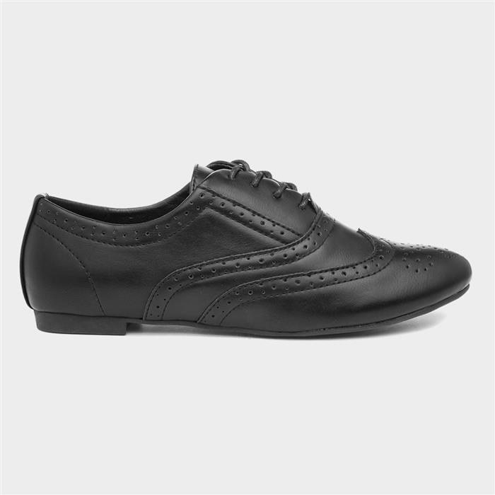 1950s Shoe Styles: Heels, Flats, Sandals, Saddle Shoes Lilley Womens Lace Up Black Brogue Shoe £12.99 AT vintagedancer.com