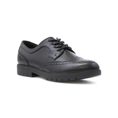 Womens Matte Lace Up Brogue Shoe in Black
