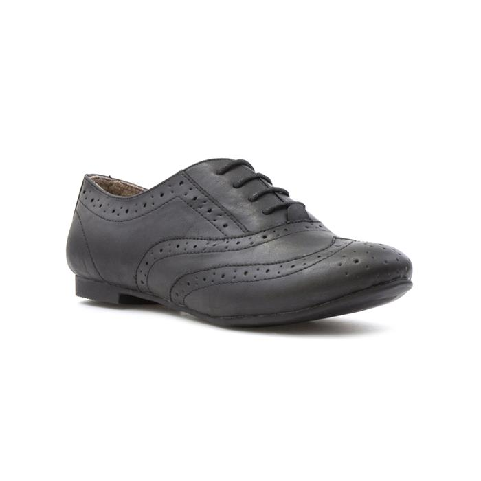 Retro Vintage Flats and Low Heel Shoes Lilley Womens Black Lace Up Brogue Shoe £12.99 AT vintagedancer.com