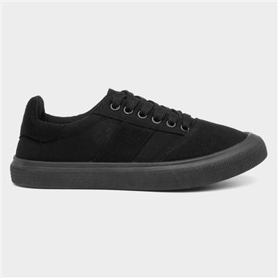 Womens Black Lace Up Canvas