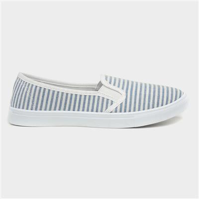 Womens Blue & White Striped Slip On Canvas