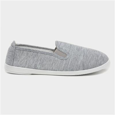 Womens Slip On Canvas Shoe in Grey