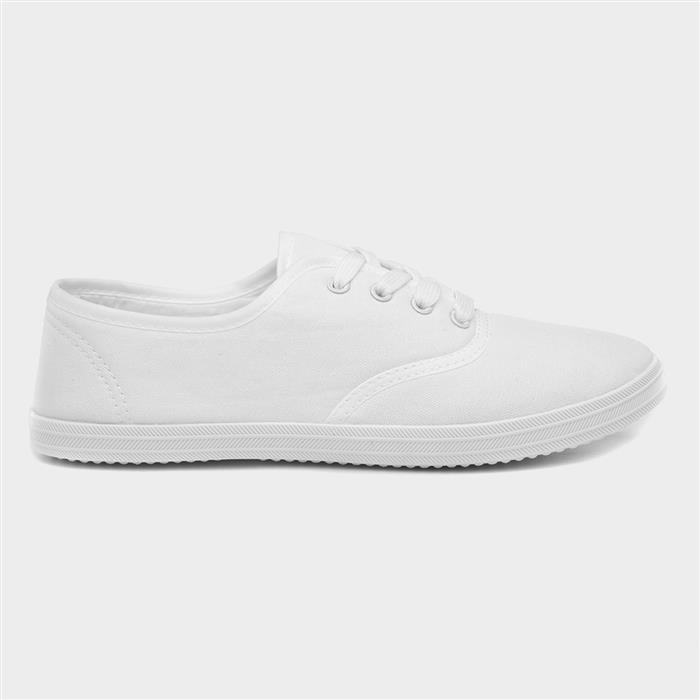 1940s Women's Footwear BLU Womens White Lace Up Canvas Shoe £6.99 AT vintagedancer.com
