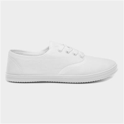 Womens White Lace Up Canvas Shoe
