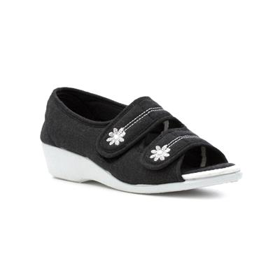 Womens Black Wedge Canvas