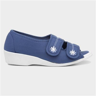 Womens Navy Wedge Comfort Sandal