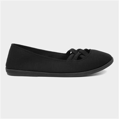 Womens Black Slip On Canvas Shoe