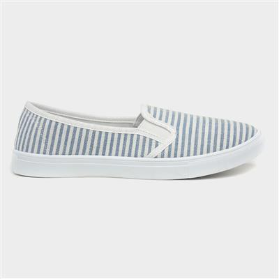 Womens White & Blue Stripe Slip On Canvas