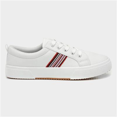 Womens White Lace Up Canvas